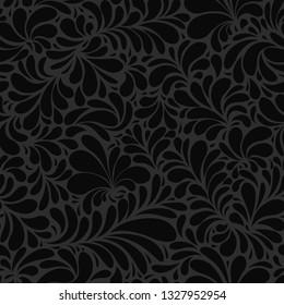 Black Paisley or Damask Black Floral Seamless Pattern, Vector Ornament. hand drawn seamless pattern. Damask silhouette texture. Floral teardrop motif. Vintage ornate background. Textile, wallpaper