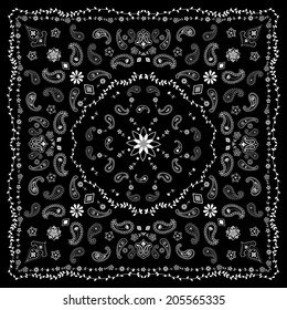 Black Paisley and Vine Bandana
