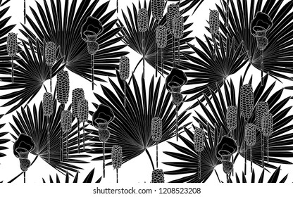 Black palm leaves pattern. Vector illustration. Botanical seamless wallpaper. Digital nature art. Cartoon style sketch. White background.