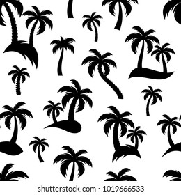 Black palm trees icons seamless pattern vector illustration