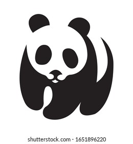 Black panda silhouette drawn by curved lines on a white background. Tattoo, animal logo, emblem for the design of the company, clothes, dishes, album, paper, cards. Isolated vector