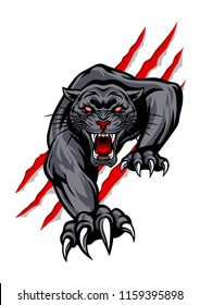Black panther animal mascot logo