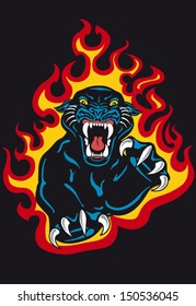 Black Panther Attack in Fire and Flames Vector Tattoo Flash