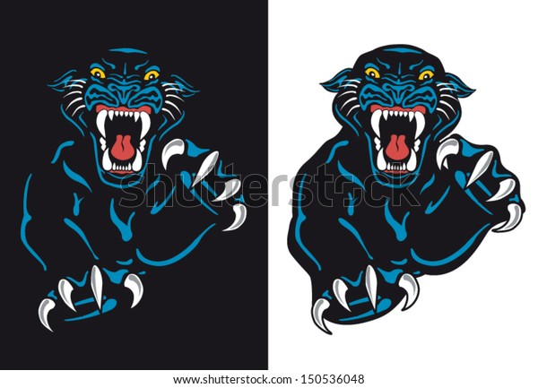 Black Panther Attack Isolated Vector Tattoo Stock Vector