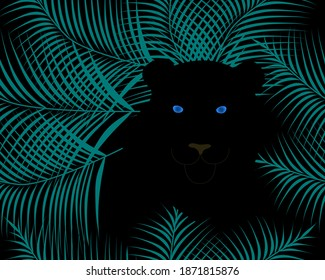 Black panther with blue eyes. Vector illustration.