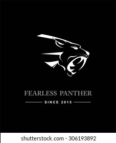 Black Panther Head. Black Panther Head combine with text. Black Panther. Fearless panther. label. Panther Mascot Head Vector Graphic. Dark Predator. tiger head, roaring fang face