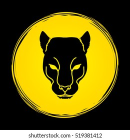 Black Panther Head designed on moonlight background graphic vector.