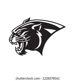 Black Panther Head Logo  Head Mascot Sports Team Vector Icon