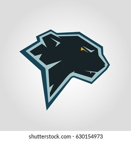 Black panther head. Mockup template animal symbol, logo, emblem or sticker for branding, printing, sports team. Vector illustration on white background.
