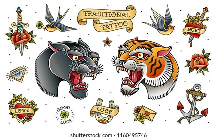 Black Panther Head and Tiger Head Traditional Old school tattoo sticker decal collection. Tattoo set of retro style panter and tiger head isolated from white background, grouped and on separate layers
