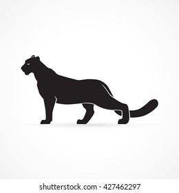 black panther logo silhouette vector illustration on white background