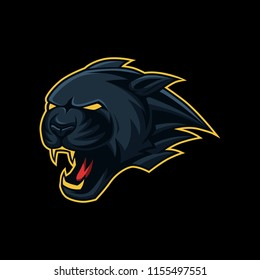 black panther mascot esport logo vector illustration with black background