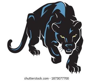 Black Panther Predator Crouching, Hunting