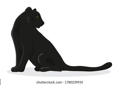 black Panther sits on its side  - vector illustration in cartoon style