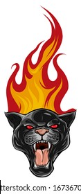 Black Panther Tattoo Design, with flames vector