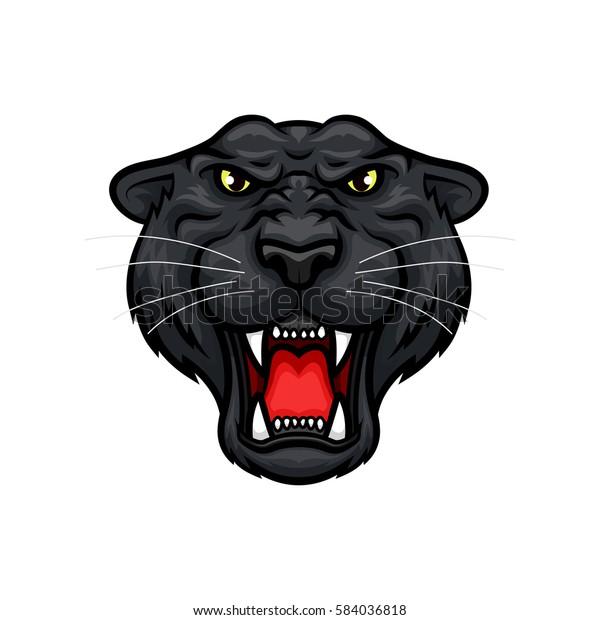Black Jaguar Growl: Black Panther Vector Mascot Roaring Jaguar Stock Vector