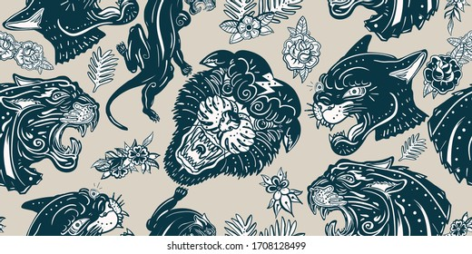 Black panthers head and roses flowers, vintage seamless pattern. Old school tattoo style. Wild cats in jungle, animals background. Traditional tattooing style