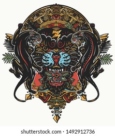Black panthers and mayan sun calendar. Wild cats totem, jungle art. Mesoamerican mexican culture. Esoteric color tattoo and t-shirt design