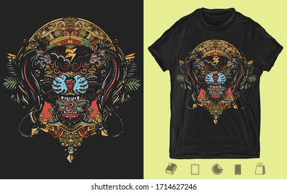 Black panthers and mayan sun calendar. Wild cats totem, jungle art. Mexican culture style. Creative print for dark clothes. T-shirt design. Template for posters, textiles, apparels
