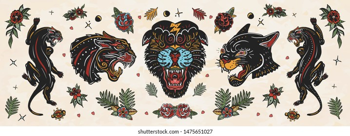 Black panthers. Old school tattoo collection. Wild cats. Traditional tattooing style