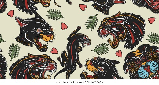 Black panthers seamless pattern. Old school tattoo style. Wild cats and red heart, animals background. Traditional tattooing art
