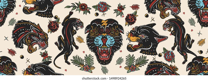 Black panthers seamless pattern. Old school tattoo style. Wild cats, red heart and palm leaves. Japanese animals background. Traditional tattooing art