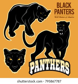 Black Panthers - vector set isoled on light background.