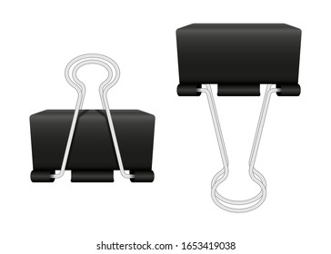 Black Paper clips isolated on white background. Two realistic object in different positions. Vector illustration.