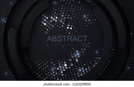 Black paper cut background. Abstract realistic papercut decoration textured with silver halftone pattern. 3d backdrop. Carving art. Vector illustration. Cover layout template. Material design concept