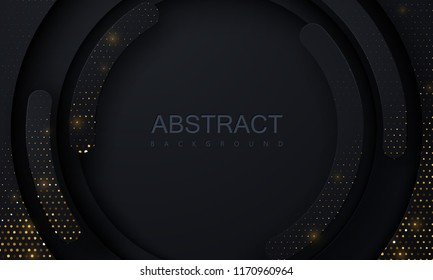Black paper cut background. Abstract realistic layered papercut decoration textured with golden halftone pattern. 3d backdrop. Vector illustration. Cover layout template. Material design concept