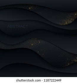 Black paper cut background. Abstract realistic papercut decoration textured with wavy shapes and golden glittering paillettes. 3d backdrop. Vector illustration. Cover layout template. Modern design