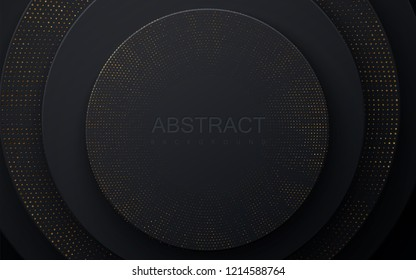 Black paper cut background. Abstract realistic layered papercut decoration textured with golden halftone pattern. 3d backdrop with circle shape layers. Vector illustration. Minimalist cover template
