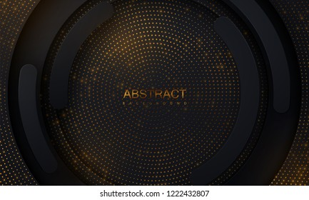 Black paper cut background. Abstract realistic layered papercut decoration textured with golden glitters. 3d backdrop. Vector illustration. Cover layout template. Material design concept