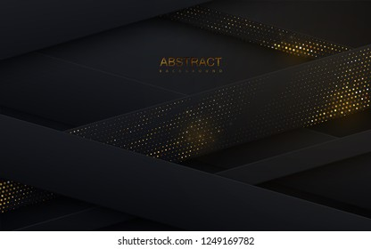 Black paper cut background. Abstract papercut decoration with layers or ribbons wixtured with golden glitters. 3d backdrop. Vector illustration. Material design concept. Minimalist cover template