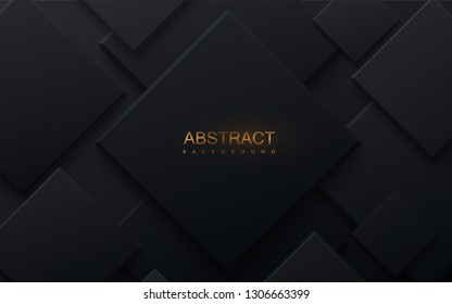 Black paper cut background. Abstract realistic papercut decoration with random square layers. 3d backdrop. Vector illustration. Material design concept. Minimalist cover template