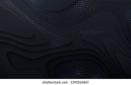 Black paper cut background. Abstract realistic papercut decoration with wavy layers and silver glitters. 3d topography relief. Vector topographic illustration. Cover layout template.
