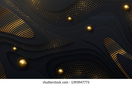 Black paper cut background. Abstract papercut decoration with wavy layers, golden glitters, wavy engrave pattern, spheres. 3d topography relief. Vector topographic illustration. Cover layout template.