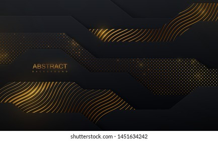 Black paper cut background. Abstract papercut decoration with wavy layers, golden glitters, wavy engraved pattern. 3d layered relief. Vector illustration. Cover template.