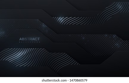 Black paper cut background. Abstract papercut decoration with wavy layers, silver glitters, wavy engraved pattern. 3d layered relief. Vector illustration. Cover template.