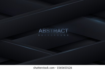 Black paper cut background. Abstract papercut decoration. Layers or ribbons textured with silver linear pattern. 3d backdrop. Vector illustration. Material design concept. Minimalist cover template
