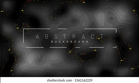 Black paper cut background. Decorations of realistic abstract textured pieces of paper with corrugated layers and golden luster.