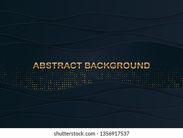 Black paper cut background with wavy layers. Luxury 3d banner with papercut overlap shapes. Geometric sliced form with gold glittering strass. Topography relief. Place for text. Vector illustration