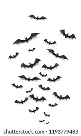 Black paper flying bats on white vertical background. Halloween greeting card elements set.
