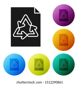 Black Paper with recycle icon isolated on white background. Set icons colorful circle buttons. Vector Illustration