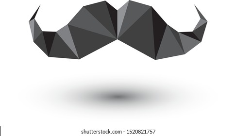 Black papercraft mustache icon isolated on white background. Moustache polygonal logo template.