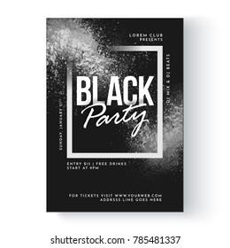 Black party banner or flyer design.
