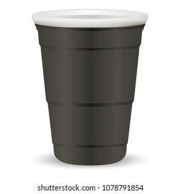 Black party cup realistic 3d vector illustration. Disposable plastic or paper container mockup for drinks and fun games isolated on white background.