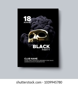 Black party poster design. Night party flyer. Black fluid splash with golden realistic mask. Vector illustration of abstract liquid swirling ink. Club invitation template. Modern cover design