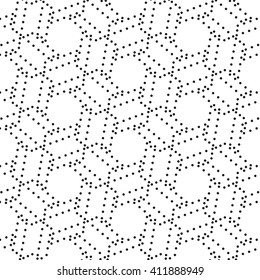 black pattern with dotted geometric. Vector repeating texture. Stylish background