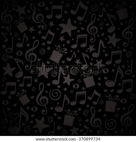 Black Pattern Wallpaper Of Musical Notes Gift Box Stars Vector Illustration